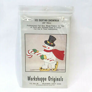 Workshoppe Originals Full Size Wood Patterns Ice Skating Snowman 32quot; 1991 CH104