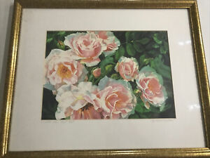Elizabeth Kershaw Watercolor Lithograph A Little Rain Must Fall Signed Framed $129.95