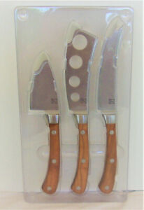 Stainless Steel 3 piece Cheese Knife Set w Olive Wood Handle LidiaBastianich