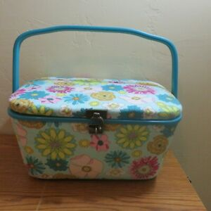 DRITZ Large Sewing Basket Swing Handle Tray Hook Closure Fabric Covered Floral $29.99
