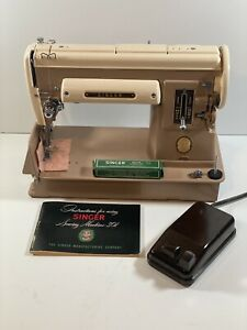 Vintage Singer 301A Brown Sewing Machine With Original Case And More $299.99