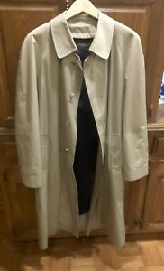 Vintage Brooks Brothers Full Length Trench Coat Button Front Wool Lined 42R Mens $70.00