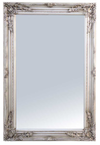 Large Ornate Antique Silver Wall Mirror 60cm x 90cm With ornate Detail on Frame $162.53