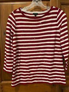 TALBOTS Red White Stripe Sequined Knit Top 3 4 Sleeve Women's Small $10.99