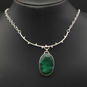 Emerald Sterling Silver Plated Necklace 21 Gemstone Jewelry W14239 $4.99