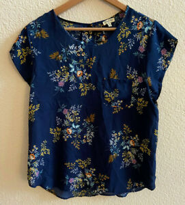 Lily White Womens Blouse Short Sleeve Floral Boho Top Blue Cap Sleeve Size XL $14.99