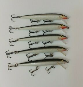 5 Rapala Floating Minnows F 11 Jerkbait Fishing Lures Lot of 5 Silver