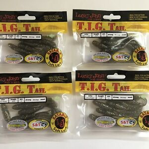 """Lot of 4 Packs Lucky John T.I.G Tail 2.8"""" Shrimp Scent Soft Lures Silver Pecan"""