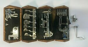 ANTIQUE SINGER SEWING MACHINE WOODEN PUZZLE BOX WITH ATTACHMENTS $39.50