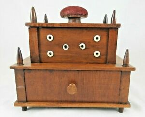 Antique 2 Tier Sewing Box and Spool Holder w. Pincushion $85.00