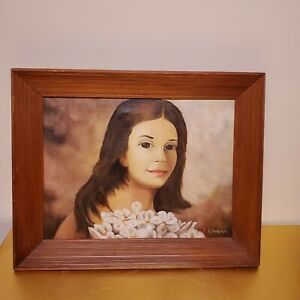 BRIGHT EYES DARK HAIR WOMAN PORTRAIT VINTAGE OIL ON CANVAS PAINTING F ANDREANI $425.00