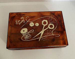Vintage Plastic Sewing Box W Removable Inner Tray Marbled Amber 9.5 x 6.5 x 3quot; $26.95