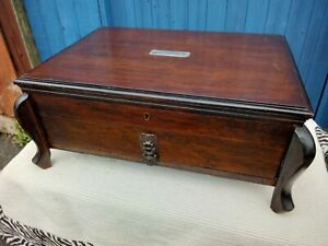 LARGE ANTIQUE VINTAGE WOODEN CUTLERY CANTEEN STORAGE BOX with DRAW amp; ORNATE LEGS GBP 69.99