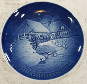 Bing Grondahl Porcelain Blue Plate Christmas at the Old Watermill Denmark 1975 $17.99