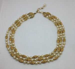 Vintage Signed Crown Trifari 3 Strand Faux Pearl Spiral G T Textured Bead Choker $40.00