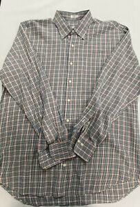Peter Millar Mens Red Black White Plaid Long Sleeve Button Down Size L $25.99