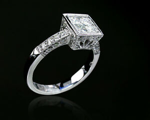 Just Married - 18K(750) White Gold Invisible Setting Diamond Design Ring