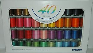 Brother Machine Embroidery Satin Threads box of 40 Reels of Thread B244 GBP 75.95