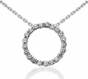 2.10 CT CIRCLE OF LIFE DIAMOND NECKLACE 14 KT WHITE GOLD 16 INCH CHAIN 25 MM