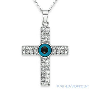 Evil Eye Bead & Cross Pendant Turkish Nazar Greek Charm Sterling Silver Necklace