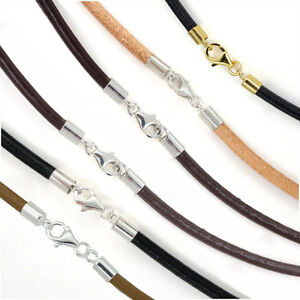 Sterling Silver 3mm Round Genuine Leather Cord Necklace  Bracelet Lobster Clasp