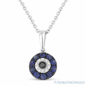 0.34ct Sapphire Diamond Evil Eye Turkish Nazar Greek Luck Charm Pendant 14k Gold