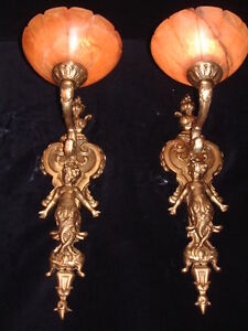 Wall light sconces bronze & real alabaster angel sculpture handcrafted no brass