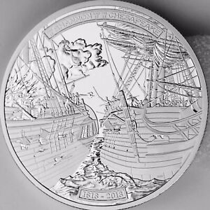 2013 $50 Shannon vs. Chesapeake 5 Troy oz. Pure Silver Proof Coin War of 1812