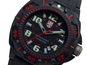EMS Free ! New Luminox NIGHT VIEW SENTRY 0215.SL Divers Mens Black Red Watch