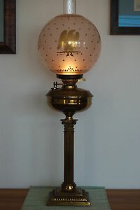 ANTIQUE OLD OIL KEROSENE GWTW GLASS EAGLE GOLD SHADE IMPIRE FEDERAL BANQUET LAMP
