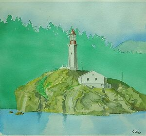 quot;Vancouver Lighthousequot; Painting Watercolor Original Matted and Framed $115.00