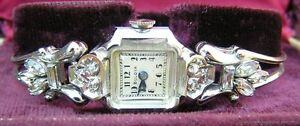 Vintage Deco Ladies Bulova 14k White Gold Wrist Watch Diamonds + Bracelet + Case