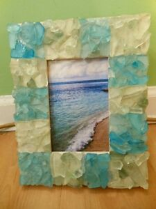 Handmade Seaglass Picture Frame, Sea Glass Frame, For Weddings Gifts Photos