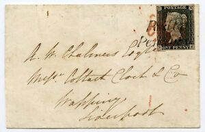 "1840 cover 1d grey-black pl. 2  BE to Liverpool with""Poulton  Penny Post"" hs"