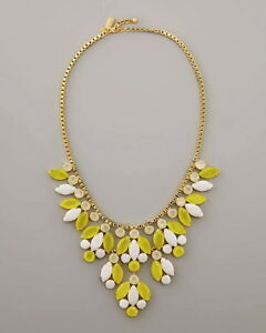 KATE SPADE MARQUEE BIB STATEMENT NECKLACE YELLOW WHITE GOLD NEW BRIDAL WEDDING