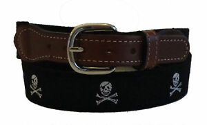 Nautical PIRATE SKULL CROSS BONES Embroidered Leather Canvas Ribbon Belt NWT