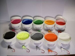 JIG HEAD FISHING LURE 1 oz POWDER PAINT IN 1 OZ WIDE MOUTH JARS.