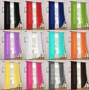 2 Piece Sheer Voile Rod Pocket Window Panel Curtain Drapes Many Sizes amp; Colors