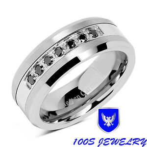 8mm Mens Tungsten Ring Black Diamond Inlay Center Brushed Wedding Band Size 8-16