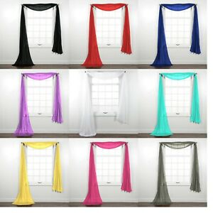 Fully Stitched Sheer Window Scarf Valance Topper Curtain Drapes in Many Colors $8.00