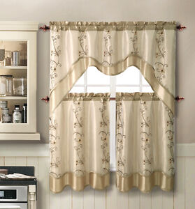 VCNY Daphne Embroidered Kitchen Curtain Set Assorted Colors