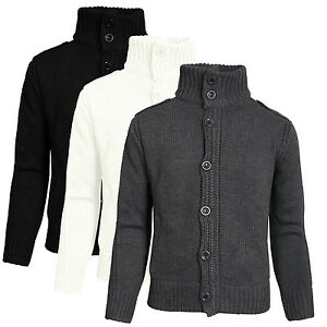 Mens Dissident Jumper Button Funnel Neck Fisherman Cardigan Knit Sweater NEMJ04