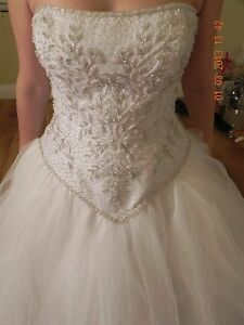 WhiteIvory Organza Wedding Dress Bridal Gown Size 14