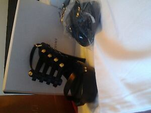 Versace Signature Wood Heel (Black & Gold) size 37