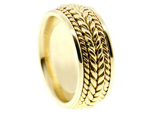 18K YELLOW GOLD BRAIDED 8mm COMFORT FIT WEDDING BAND MEN WOMEN RING
