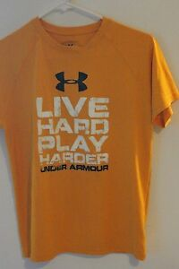 Under Armour shirt for boys in orange with logo in black withlive hard play hard