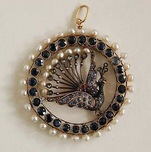 Fantastic LARGE HUNGARIAN JEWELED PENDANT - PEACOCK c1850 Antique        (3W11)