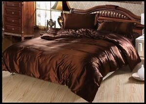CHOCOLATE SOLID 1000TC SATIN SILK FITTED/SHEET/DUVET SET CHOOSE SIZE