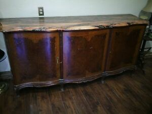 Turn Of The Century French Country Provincial Buffet WMarble top