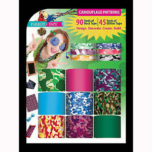 Parrot Tape Duct Tape Glitter Tape Combo Pack 15ct Camouflage Patterns